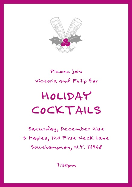 Online Christmas party invitation card with champagne glasses and Christmas deco. Pink.