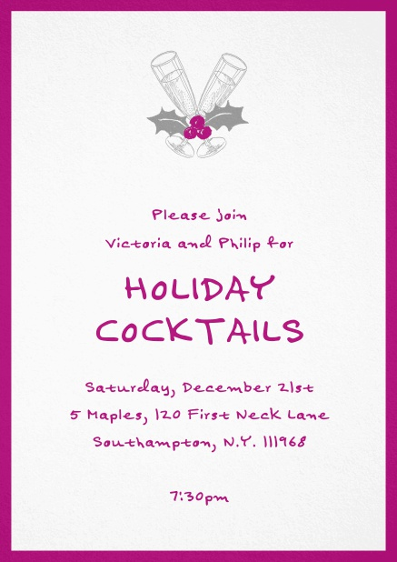 Christmas party invitation card with champagne glasses and Christmas deco. Pink.