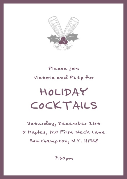 Online Christmas party invitation card with champagne glasses and Christmas deco. Purple.