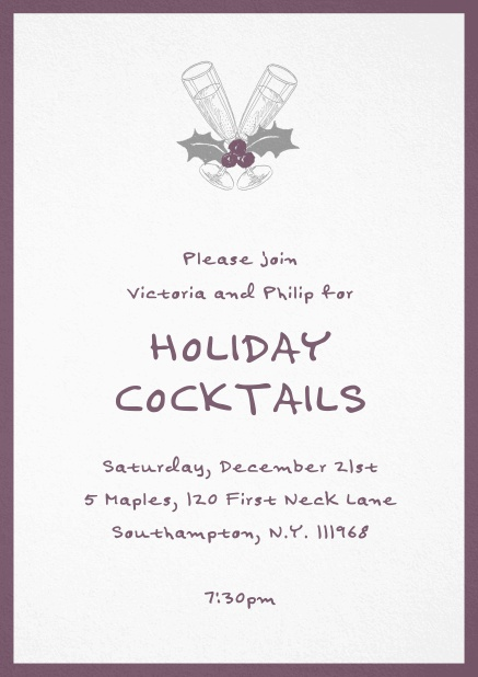 Christmas party invitation card with champagne glasses and Christmas deco. Purple.