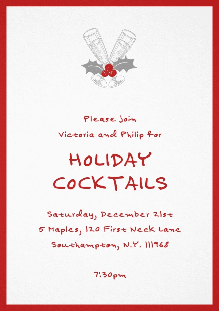 Christmas party invitation card with champagne glasses and Christmas deco. Red.