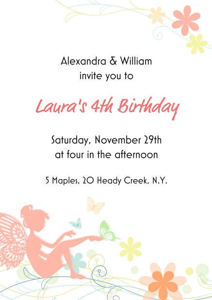 Beautiful fairy birthday invitation card online with pink fairy and delicate flowers.