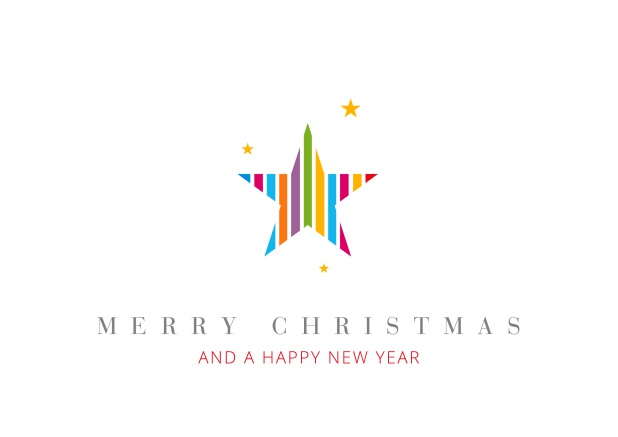 Online Christmas Card with colorful star incl. New Years Greetings.
