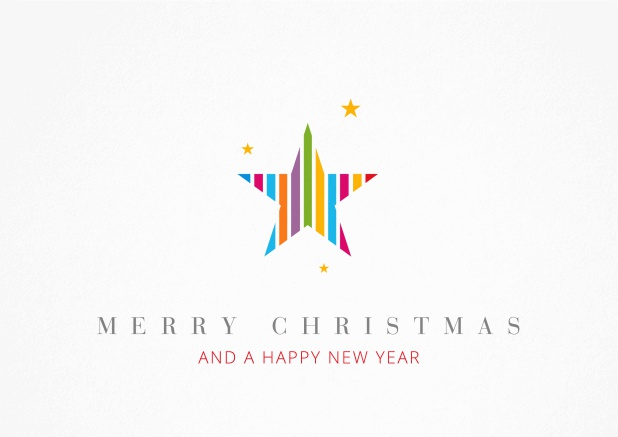 Christmas Card with colorful star incl. New Years Greetings.