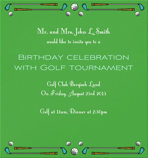 High Format Green Golf Themed Invitation Card with Golf Clubs and ball.