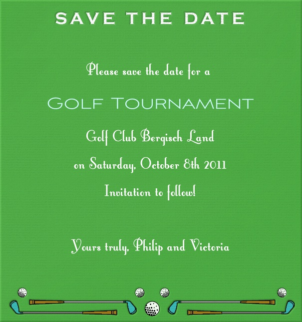 High Green Sport Themed Save the Date Card with Golf Clubs and Balls.