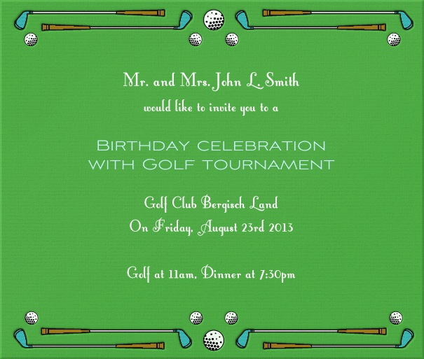 Square Green Golf Themed Invitation Card with Golf Clubs and ball.