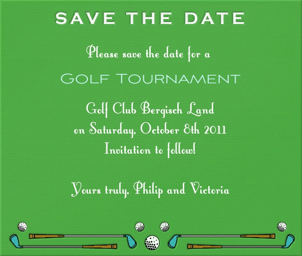 Green Sport Themed Save the Date Card with Golf Clubs and Balls.
