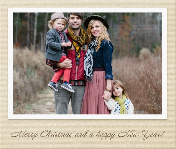 Light Brown Christmas Card with Large Photo.