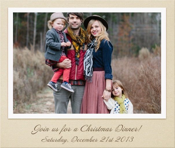 Square Customizable Photo Card Invitation Template with Beige Border.