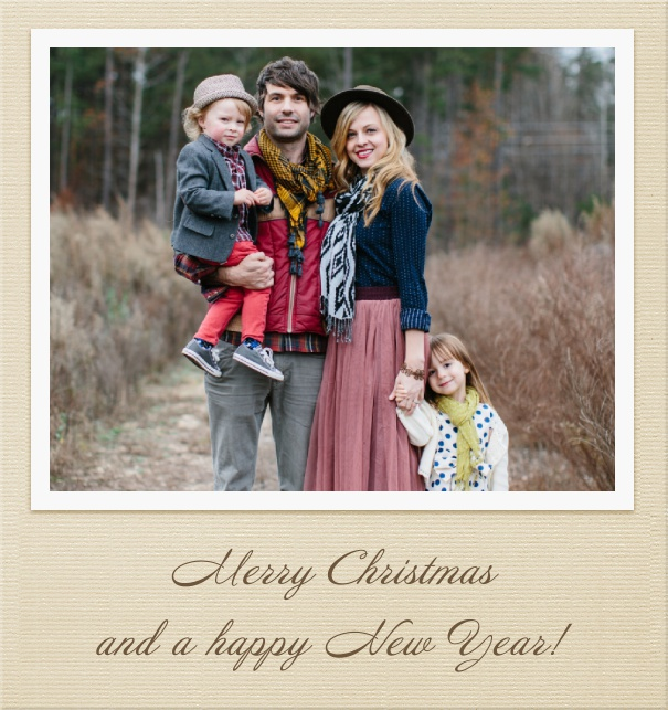High Light Brown Christmas Card with Large Photo.