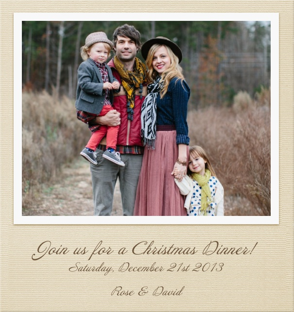 Rectangular Customizable Photo Card Invitation Template with Beige Border.