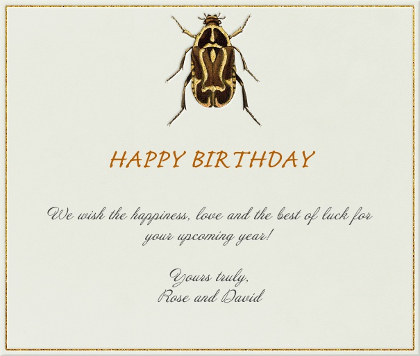 Beige Summer Themed Card with Beetle.