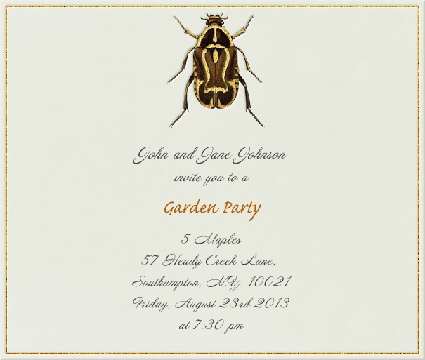 Square Light Grey Format Summer Themed Invitation Template with beetle.