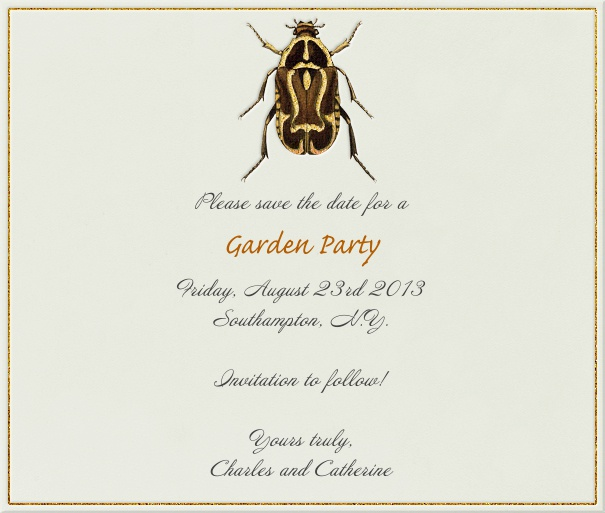 Tan Summer Themed Seasonal Save the Date Card with Beetle.