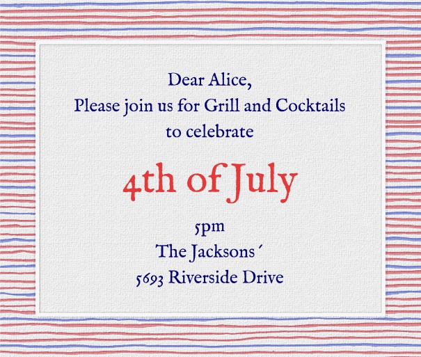 Square Red White and Blue Fourth of July Invitation Template with Designed Border.