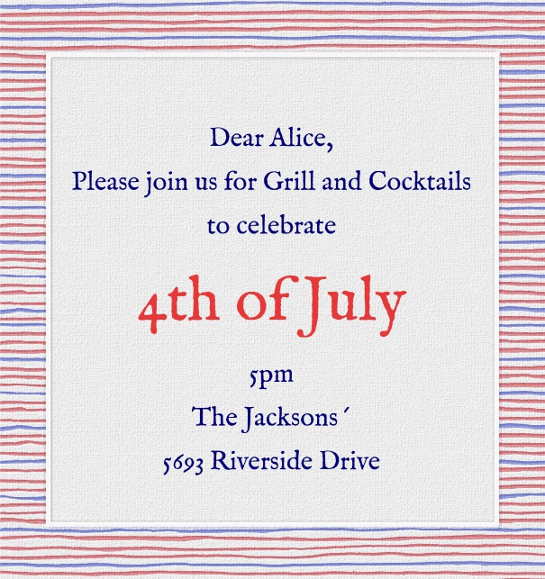 High Format Red White and Blue Fourth of July Invitation Template with Designed Border.