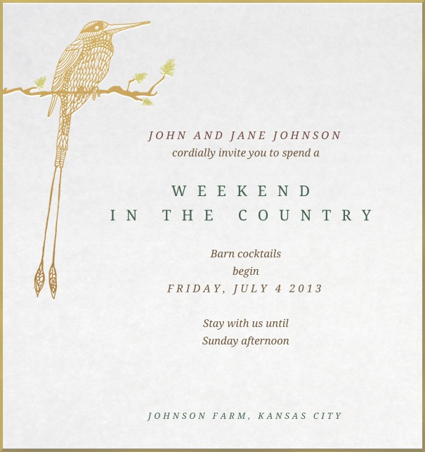 Birthday or Anniversary Invitation with golden border and bird.