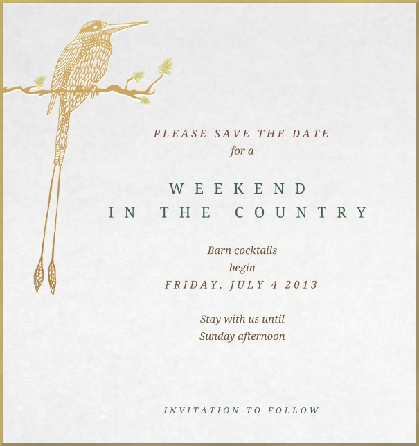 Dinner or Party Save the Date Card with golden bird and golden frame.