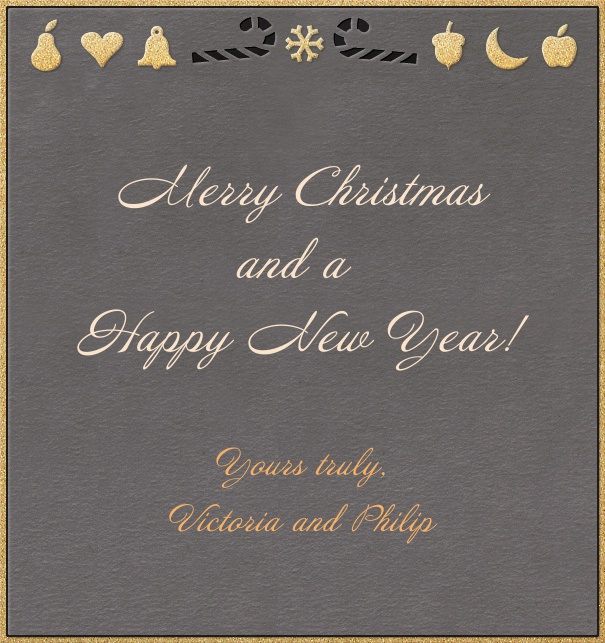 Portrait Grey Online Christmas card with golden border and Christmas decoration.