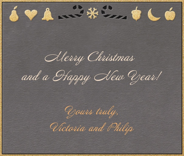 Grey Online Christmas card with golden border and Christmas decoration.