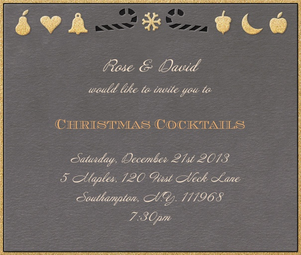 Grey Christmas square format invitation card with golden border and Christmas decoration in top part of card. Including designed text in black and yellow to match the card.
