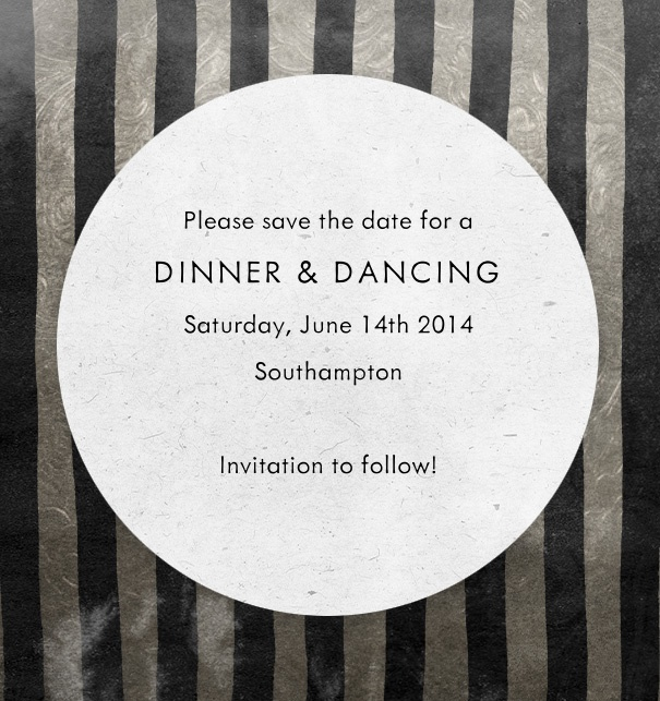 Silver Black striped Save the Date Card design with a white circle for text for celebrations like New Years Eve.