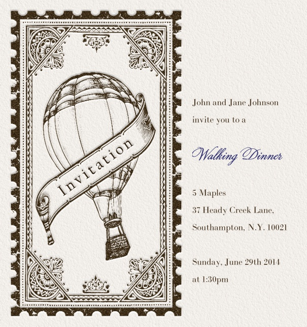 Modern Online Dinner Invitation with Stamp theme.