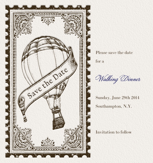 Modern Save the Date Card for weddings with balloon and gothic theme.