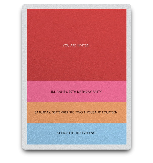 Minimalist modern invitation card design with colourful red, pink, orange and blue stripes for text.
