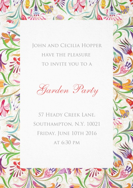 Wedding invitation card with colorful frame of flowers.