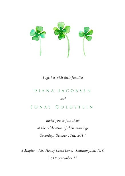 White online invitation card with three green four leaf covers.