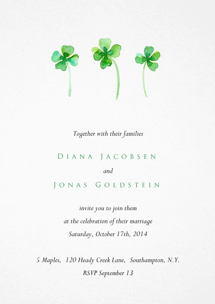White invitation card with three green four leaf covers.
