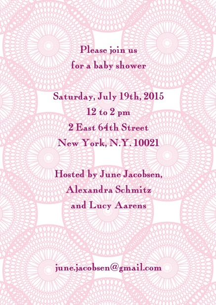 Online invitation card with pink and round circles in the background and editable text field.