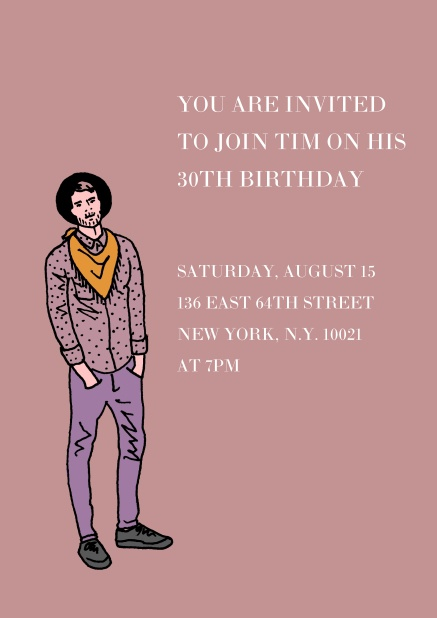 Online Invitation In Purple With Young Man For 30th Birthday