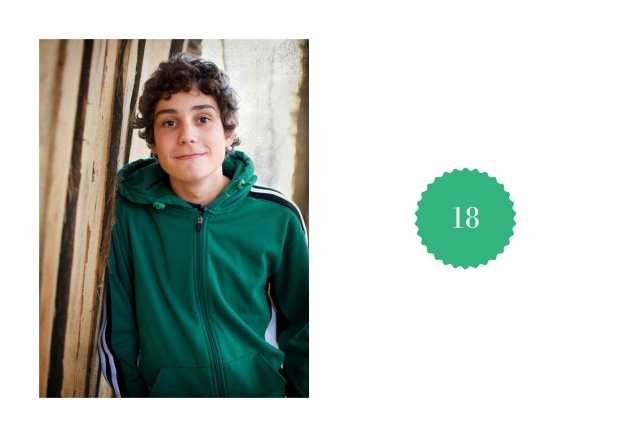 Online 18th birthday invitation card with photo and small round text field with editable number. Green.