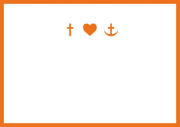 Confirmation invitation card online with customizable color and Christian symbols on front. Orange.