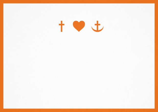 Confirmation invitation card with customizable color and Christian symbols on front. Orange.