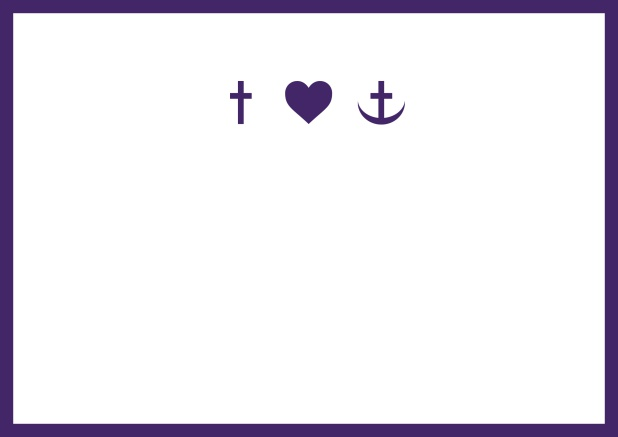 Confirmation invitation card online with customizable color and Christian symbols on front. Purple.