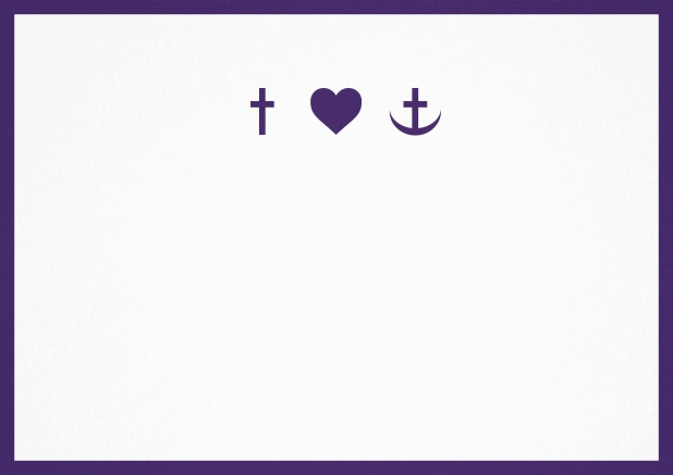 Confirmation invitation card with customizable color and Christian symbols on front. Purple.