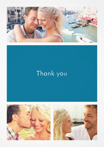 Thank you card with three photo fields and a text field in various colors. Blue.