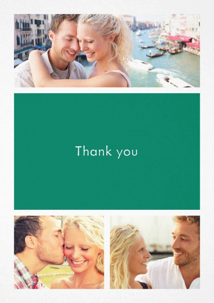 Thank you card with three photo fields and a text field in various colors. Green.