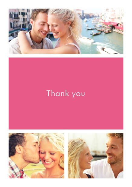 Online Thank you card with three photo fields surrounding a colorful textfield. Pink.
