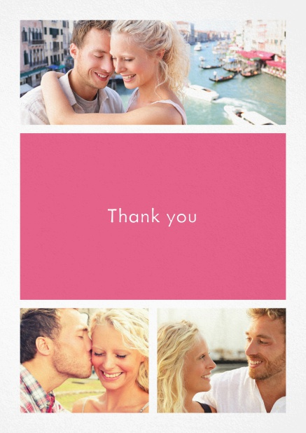Thank you card with three photo fields and a text field in various colors. Pink.