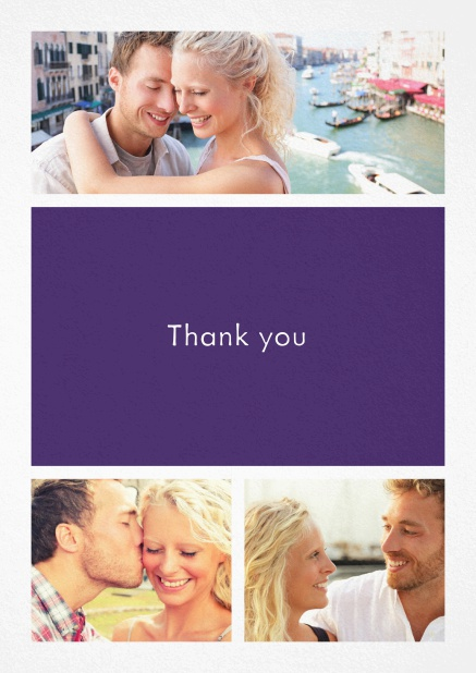 Thank you card with three photo fields and a text field in various colors. Purple.