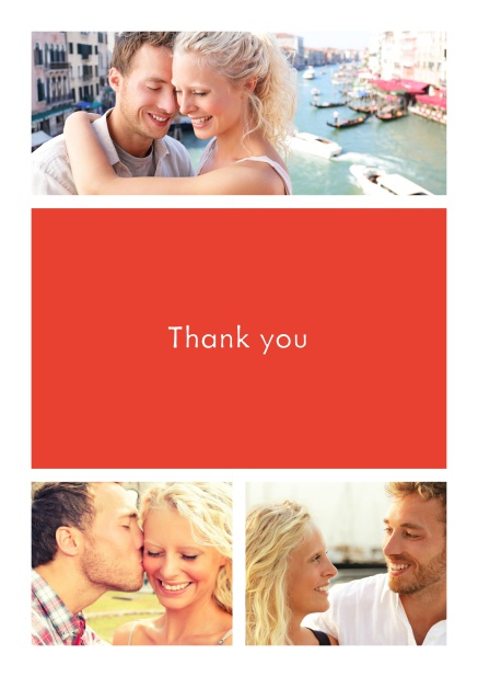 Online Thank you card with three photo fields surrounding a colorful textfield. Red.