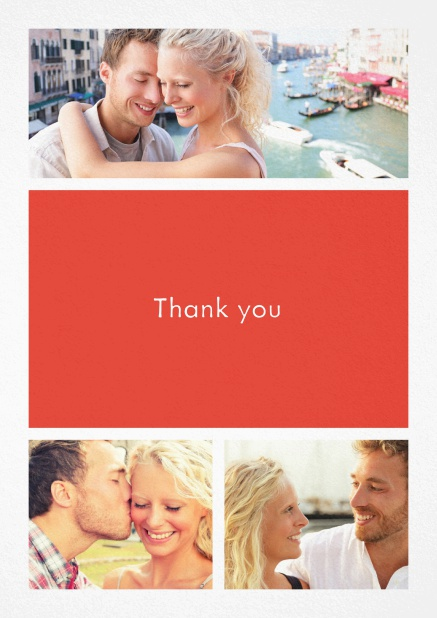 Thank you card with three photo fields and a text field in various colors. Red.