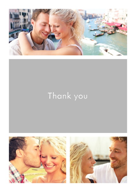 Online Thank you card with three photo fields surrounding a colorful textfield. White.