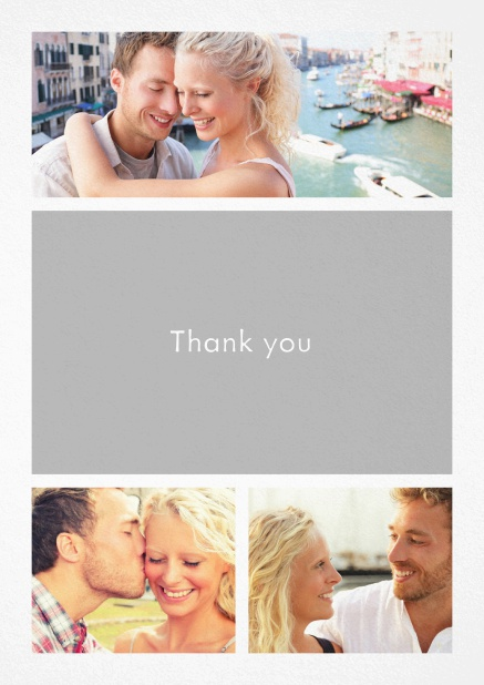 Thank you card with three photo fields and a text field in various colors. White.
