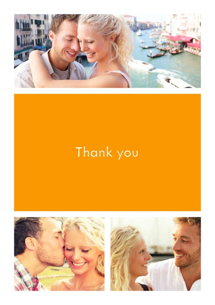 Online Thank you card with three photo fields surrounding a colorful textfield. Yellow.